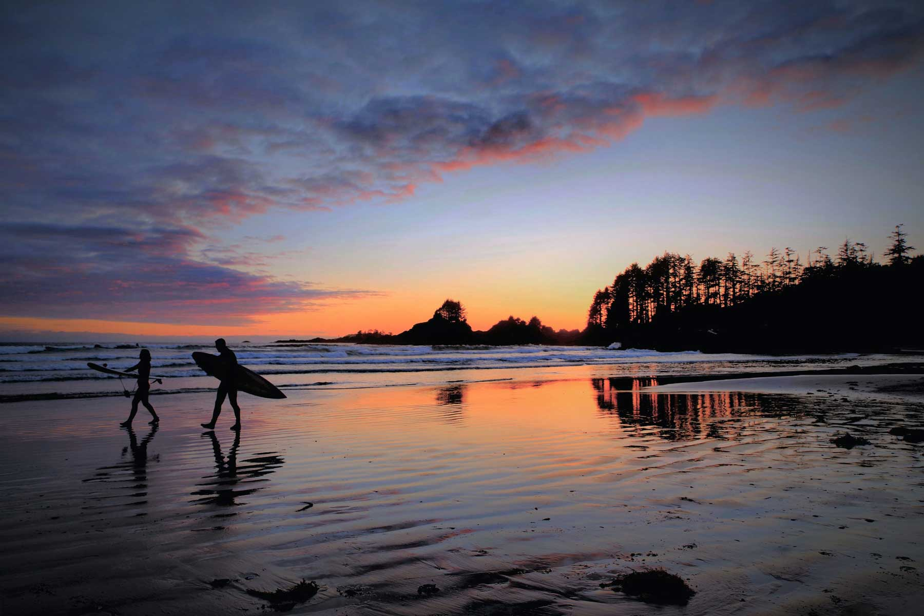 Sunset in one Tofino, one of the top travel destinations in Canada.