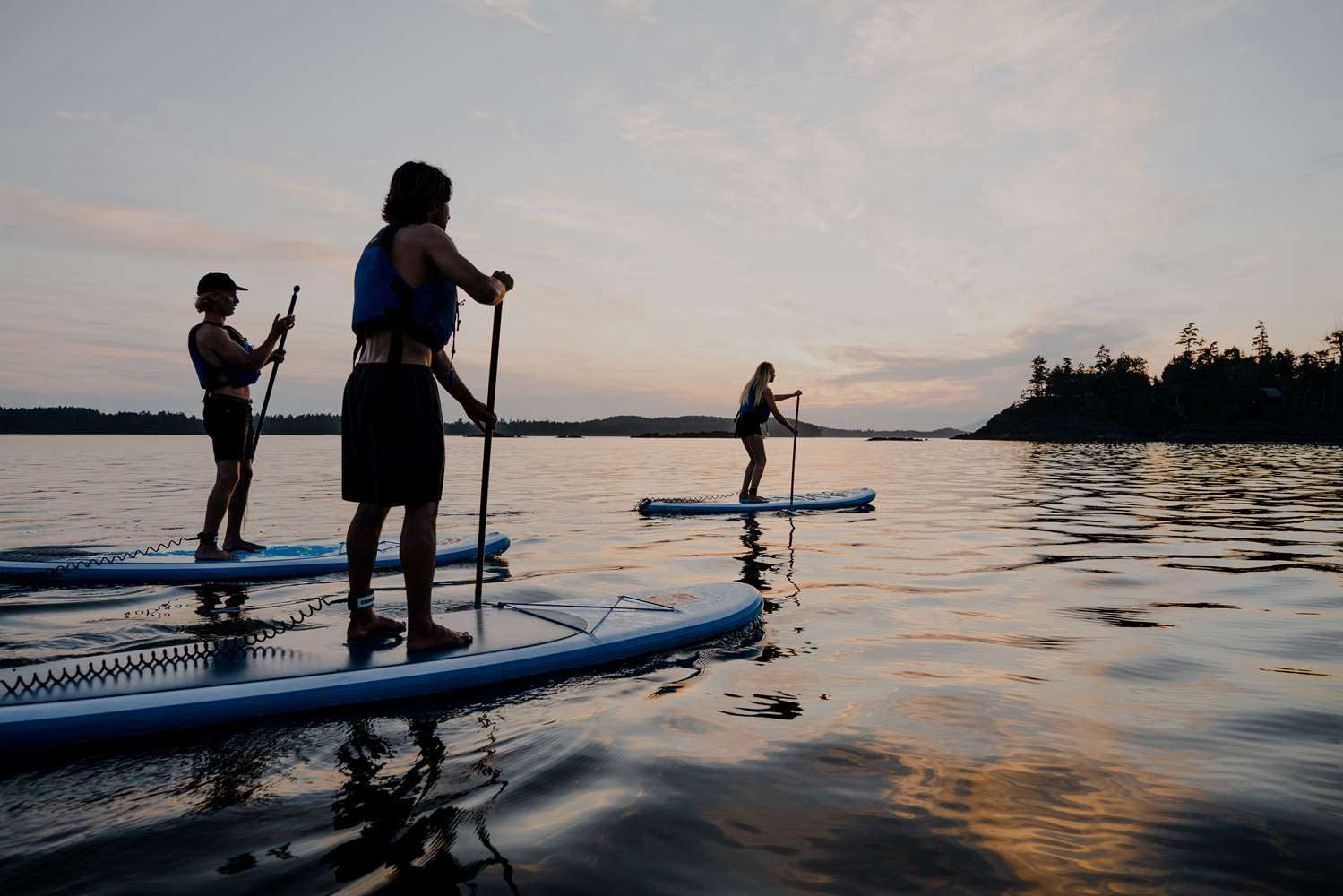 Paddleboarding on a yoga retreat in Tofino
