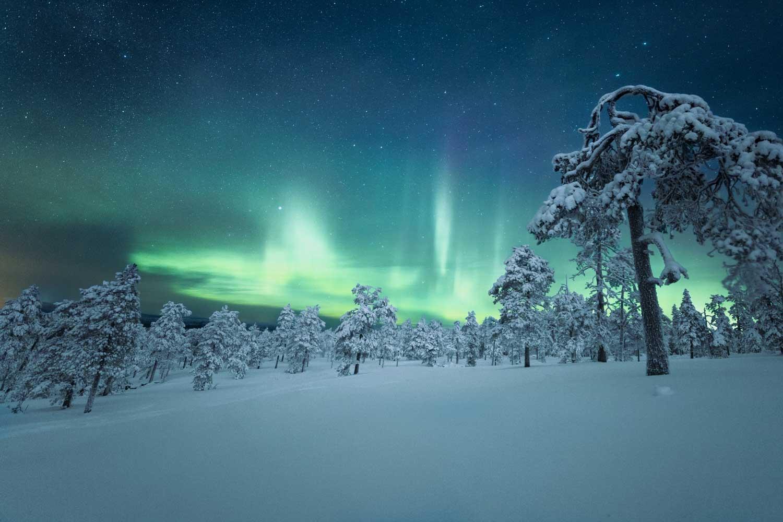 Winter aurora borealis viewing in Canada.